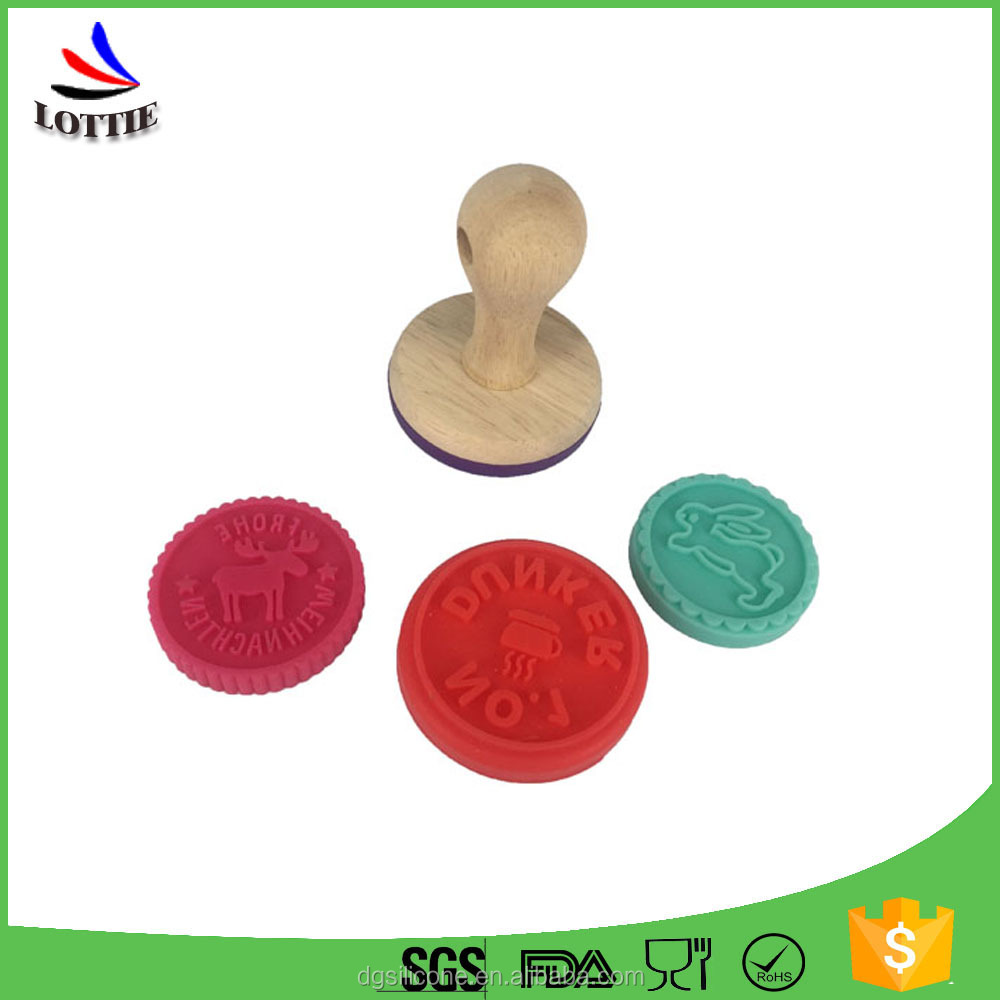 Lottie supplier Silicone cake Stamp Round silicone Cookie stamp with Wood handle