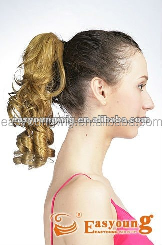 synthetic Claw Clip in ponytail hair piece, short ponytail hair style