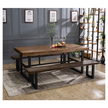 Best Price Rectangle Black Iron Dine Table Wood Top Metal Base Dining Tables