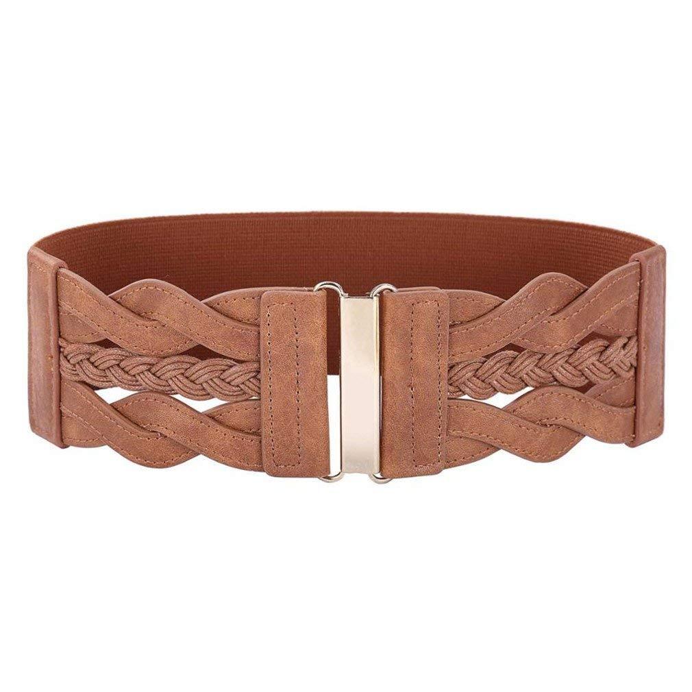 Get Quotations · Wide Belts For Women Leather Elastic Waist Belt Waistband  Womens Brown Belt 64077da448cb