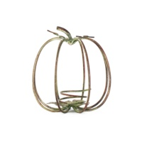 Hot Sales Handmade Wrought Iron Metal Art Reddish Brown Hollow-out Pumpkin Style Candle Holder Iron Art Tabletop Decor