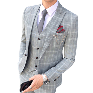 54b102903a1 wholesale mens elegant Wedding Suits Tuxedo plaid British grey 3 Pieces  jacket pants vest Slim Fit male lattice suits
