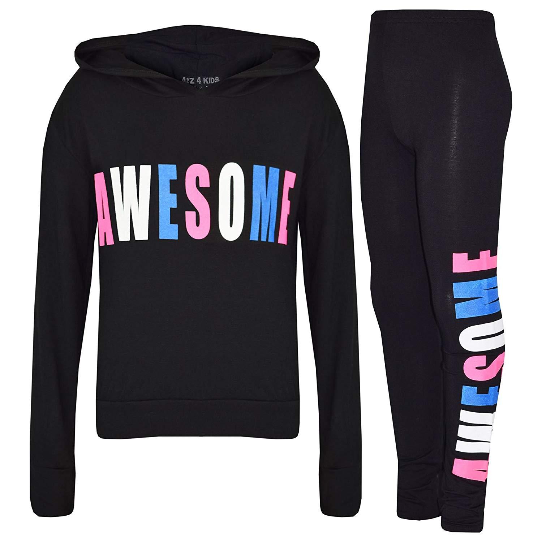 353d6f0a9f44 A2Z 4 Kids® Girls Tops Kids Awesome Print Hooded Crop Top Legging Lounge  Wear Set