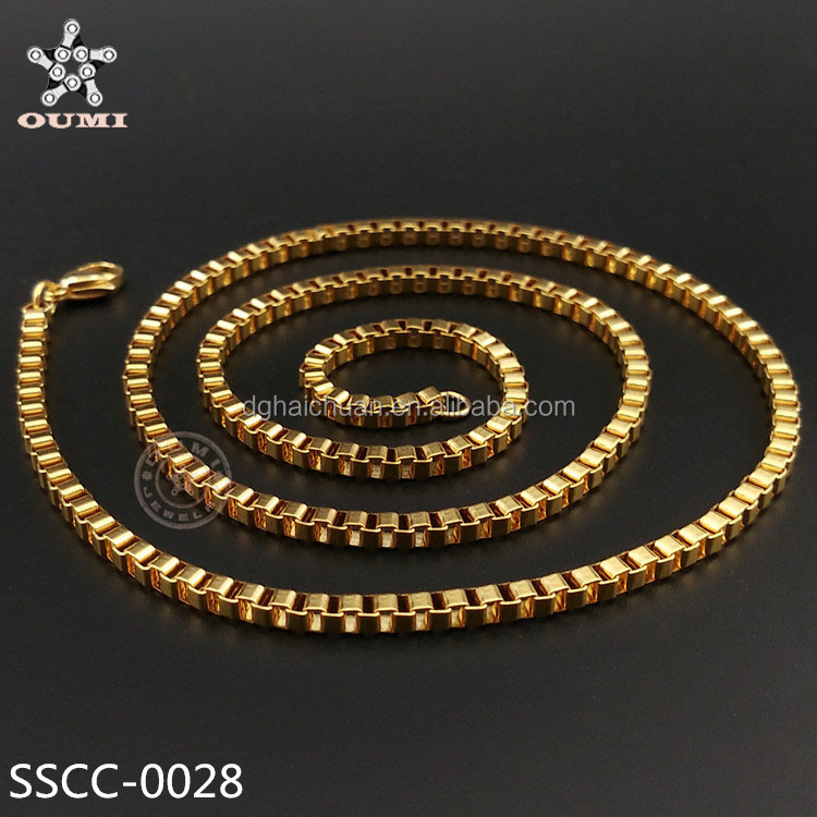 New Gold Chain Design Girls Men\'s Stainless Steel Venice 2mm Thin ...