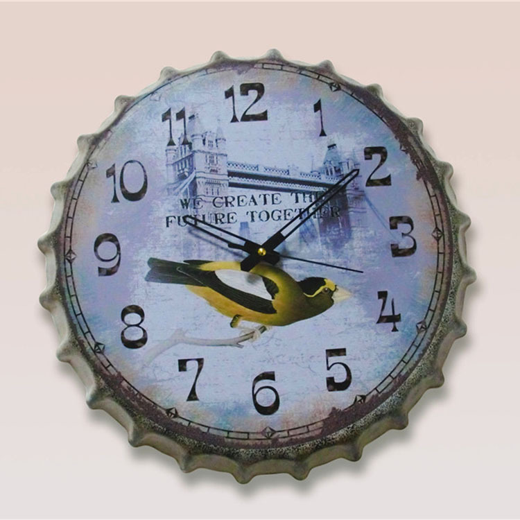 Tin sign Wall Hangings Vintage Metal Painting Rustic Beer Cover Wall Clock Bar Cafe Decoration Poster Mural Craft 35X35 CM A2