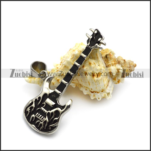 Fashion Stainless Steel Jewelry <strong>Silver</strong> and Black Tone Guitar Pendant for Rock Lovers