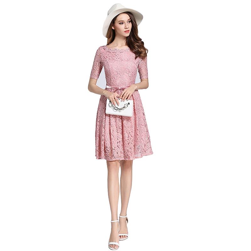 9e6508764 Vendimia del cordón rojo con cinturón de manga corta a-line robe Femme  verano vestidos