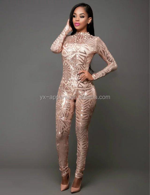 db6a720e3add 2016 donne sexy da sera elegante oro zecchino pagliaccetti tute con maniche  lunghe