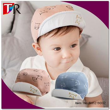9a6a2412ba7 funny cats printed baby organic cotton flanging baseball cap baby boy summer  hat