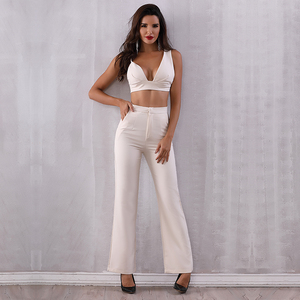2018 Fashion Women Summer Sets Tops&Pant 2 Two Pieces Full Length Back Zipper Night Out Celebrity Evening Party Women Sets