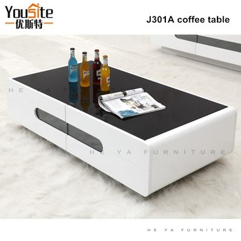 Modern Wooden Center Table Tempered Glass Tops Wood Base Coffee Table