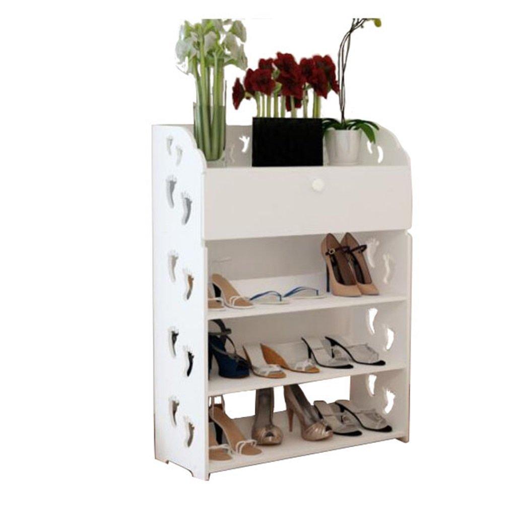 AIDELAI shoe racks Shoe Rack Cabinets Creative Carvings Organiser Shelves Multifunctional Dustproof 4 Tiers With Drawer Combination Of Shoe Racks (White/602481)