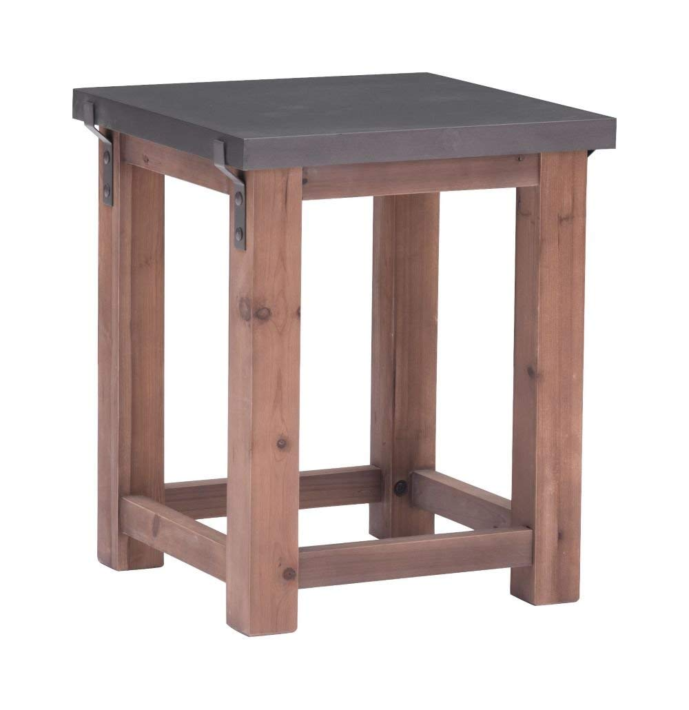 """Greenpoint Side Table Gray Distressed Fir Dimensions: 19.7""""W X 19.7""""D X 23.6""""H Weight: 29 Lbs"""