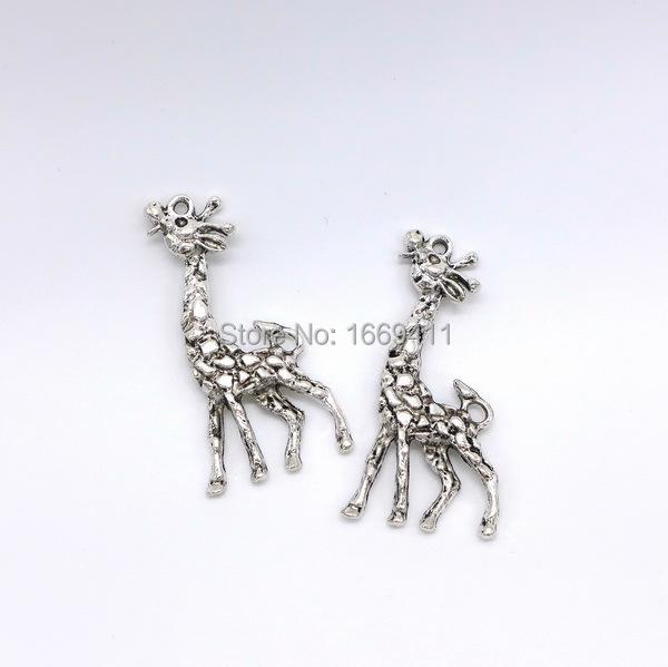 bd2cd3a01 10pcs/lot 54*27mm Zinc Alloy giraffe charms pendant antique silver giraffe  charms for