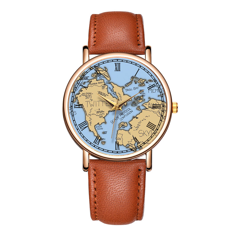 Wholesale Custom Men Watch Map Image Dial Put Your Own Logo Watch make your own watch