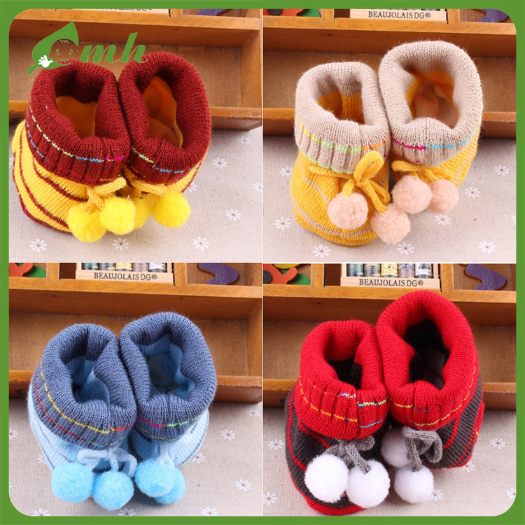 2017 mh crochet handmade cotton fabric knitted baby shoes