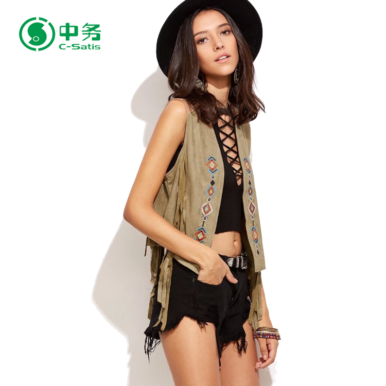 Top Fashion European Popular Style Summer Embroidered Ladies Sexy Vest for Sale