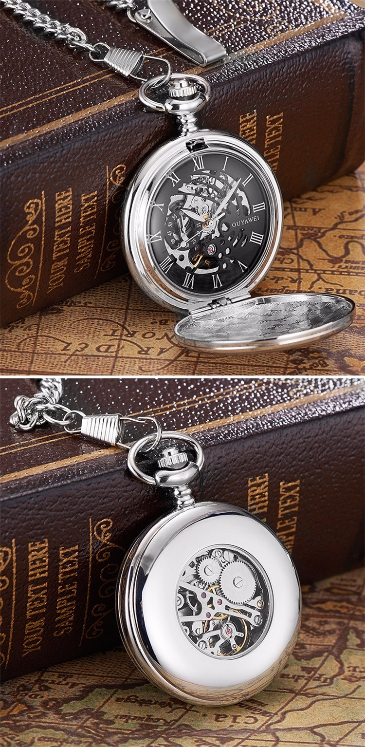 f7144f3ab OUYAWEI Silver Alloy Case Men Mechanical Pocket Watch With Stainless Steel  Chain Hand-Winding Best