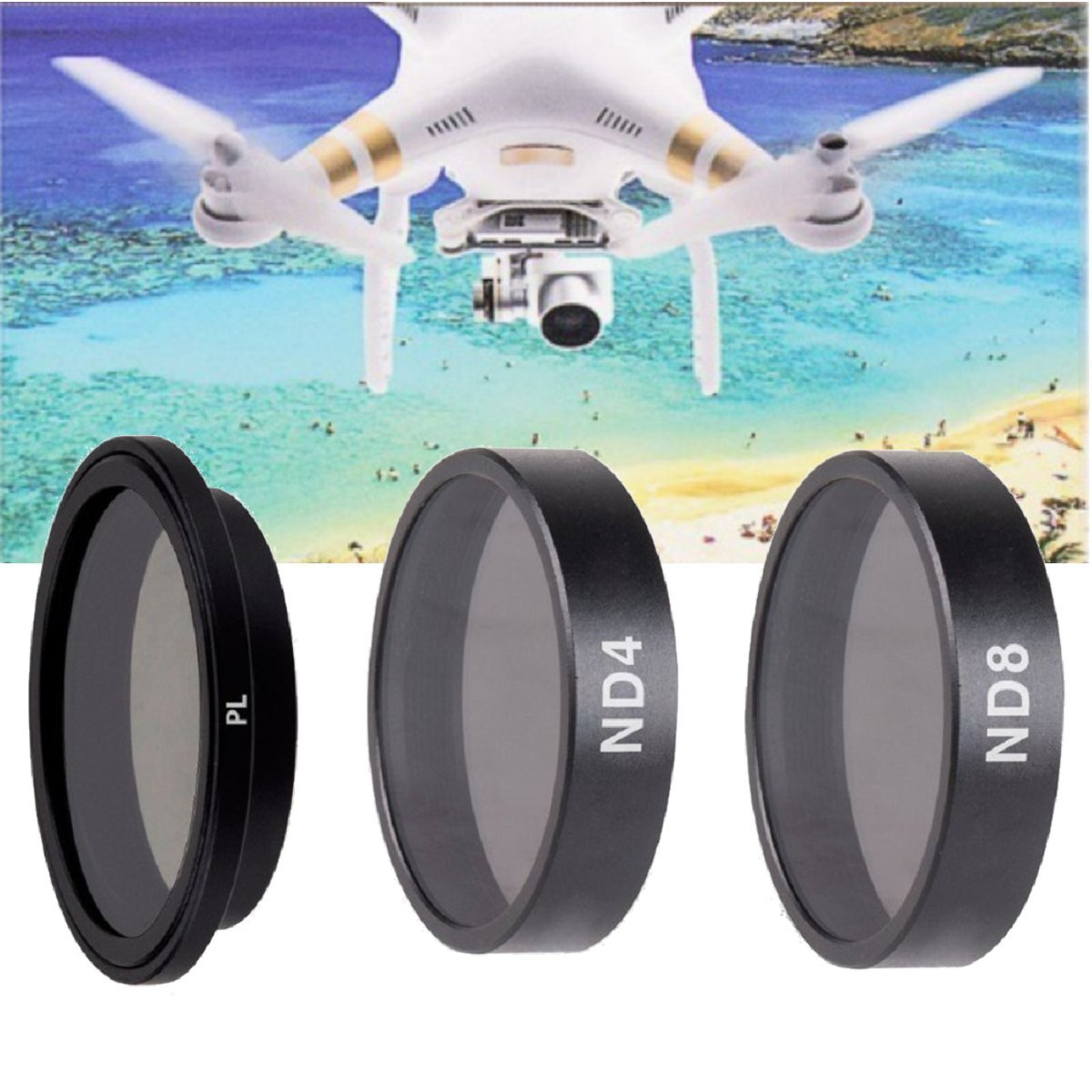 3 Piece Filter Kit (PL-ND4-ND8) for DJI Phantom 3 4K, DJI Phantom 3 Standard, DJI Phantom 3 Advanced, DJI Phantom 3 Pro, Phantom 4 Quad-copters