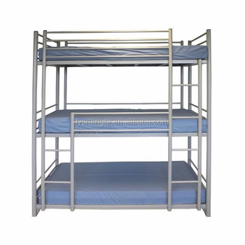 new design metal 3 tier bed bunk bed for school dormitory