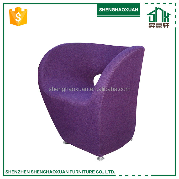 2017 best price professional custom fashion purple leisure chair glass steel furniture