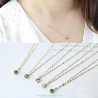 925 Sterling Silver Italian Chain Gold Plated Birthstone Choker Women Necklace