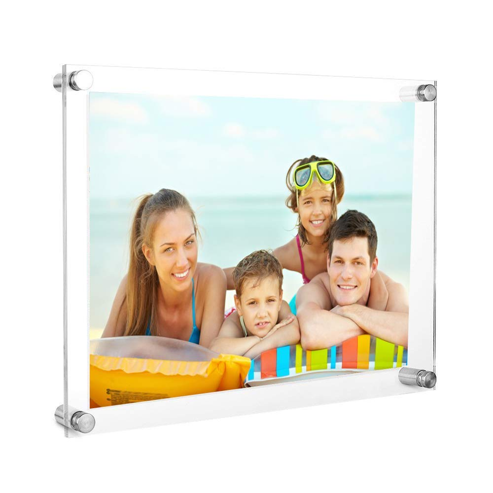 DISTILL 8.5x11 Acrylic Picture Frame -Clear Acrylic Wall Mount Floating Photo Frame for Document Certificate Sign Holde Display Use As Family Picture Frame