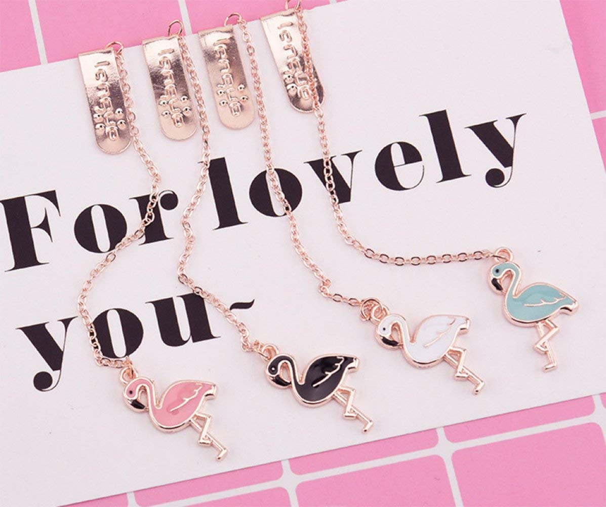 4 Pack Ins Chic Flamingo Assorted Colors Pendant Bookmark Lovely Cartoon Metal Paper Clip Cute Cartoon Page Markers School Office Supply Desk Accessories Gift Korean Stationery