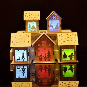 Festival LED Light Wood House Christmas Tree Hanging Ornaments Holiday Nice Xmas Gift Wedding Decoration