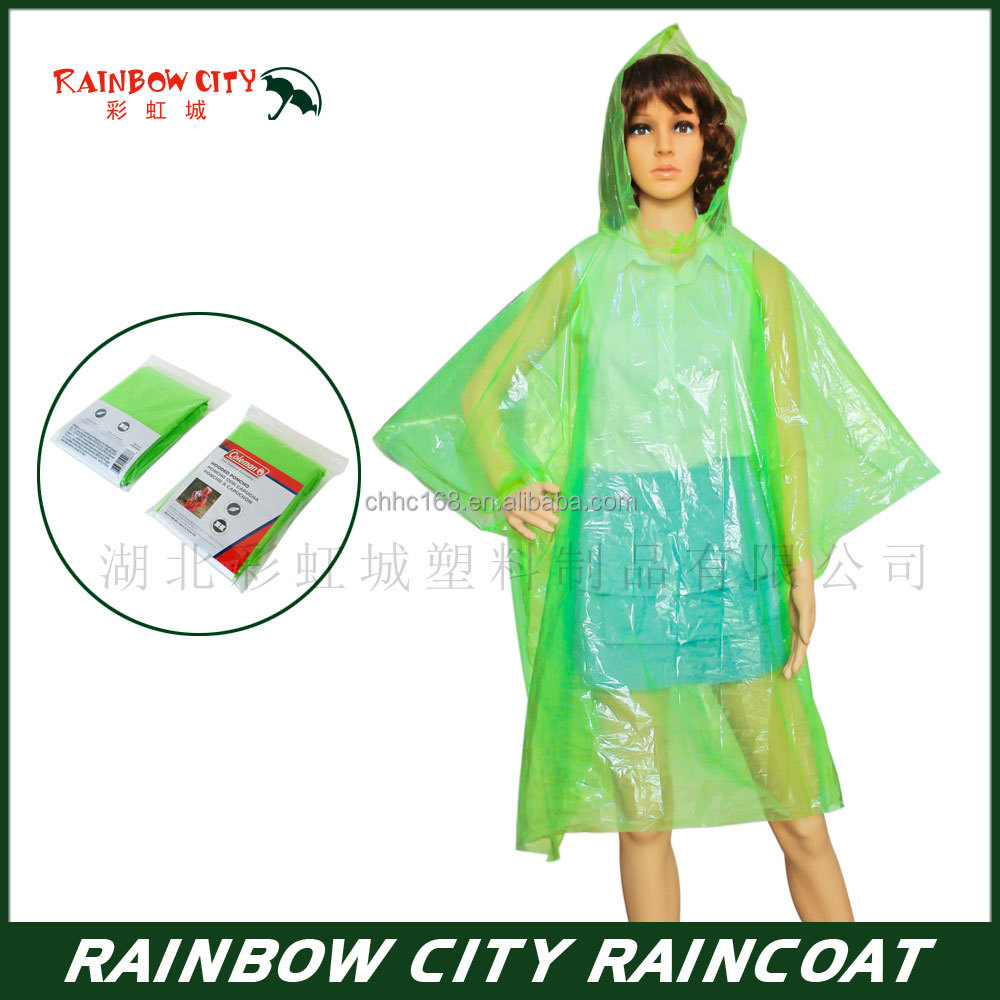 Green emergency PE disposable promotional poncho ,Playground transparent raincoat,Factory direct sale,
