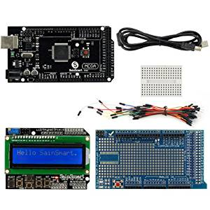 SainSmart C96 Kit with MEGA2560 R3 Black + LCD + Prototype Shield V3 + Mini Breadboard + Wires + USB Cable for Arduino UNO MEGA R3 Mega2560 Duemilanove Nano Robot XBee ZigBee