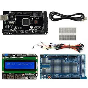 SainSmart C96 Kit with MEGA2560 R3 Black + LCD + Prototype Shield V3 + Mini Breadboard + Wires + USB Cable for Arduino UNO MEGA R3 Mega2560 Duemilanove Nano Robot XBee ZigBee