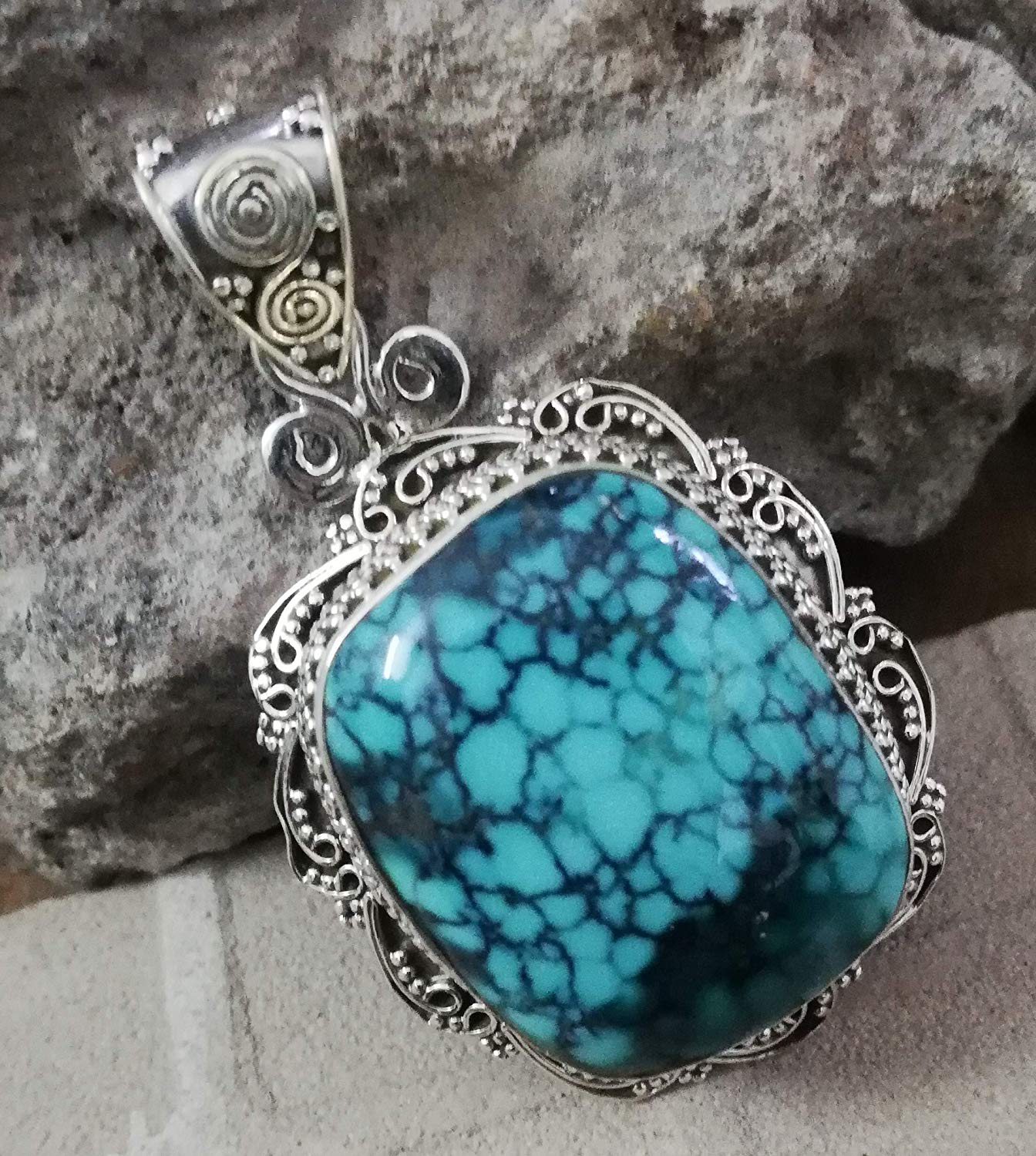 Turquoise Pendant 925 Sterling Silver Personalised Pendant Natural Blue Jewelry Southwestern Pendant Exquisite Design Pendant Victorian & Filigree Pendant Charming Pendant Waw Amazing Jewelry Gift Her