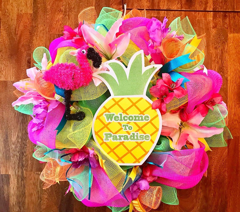Hawaiian wreath, Luau wreath, tropical wreath, beach wreath, summer wreath, beach party theme, hawaiian theme, luau party, Hawaiian decor