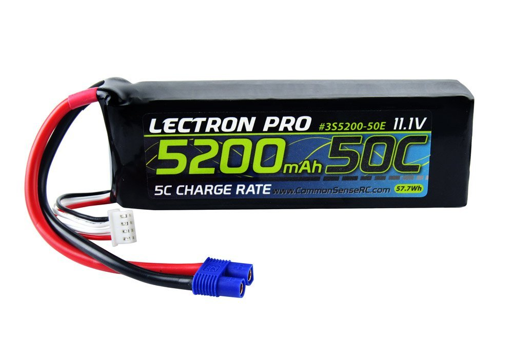 Common Sense RC Lectron Pro 11.1V 5200mAh 50C Lipo Battery with EC3 Connector for 1/10 Scale Cars, Trucks, and Buggies
