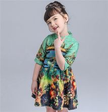 Baby kids girl stand collar peacock pattern chinese traditional jacquard dress