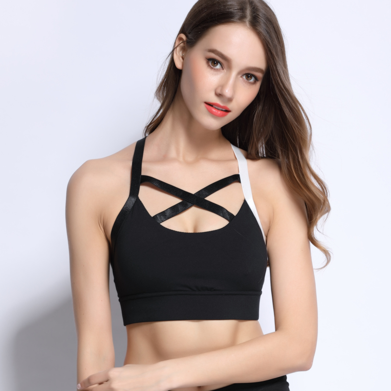 Women Soft Cup Strappy Padded Push Up Gym Fit Marathon Sports Bras