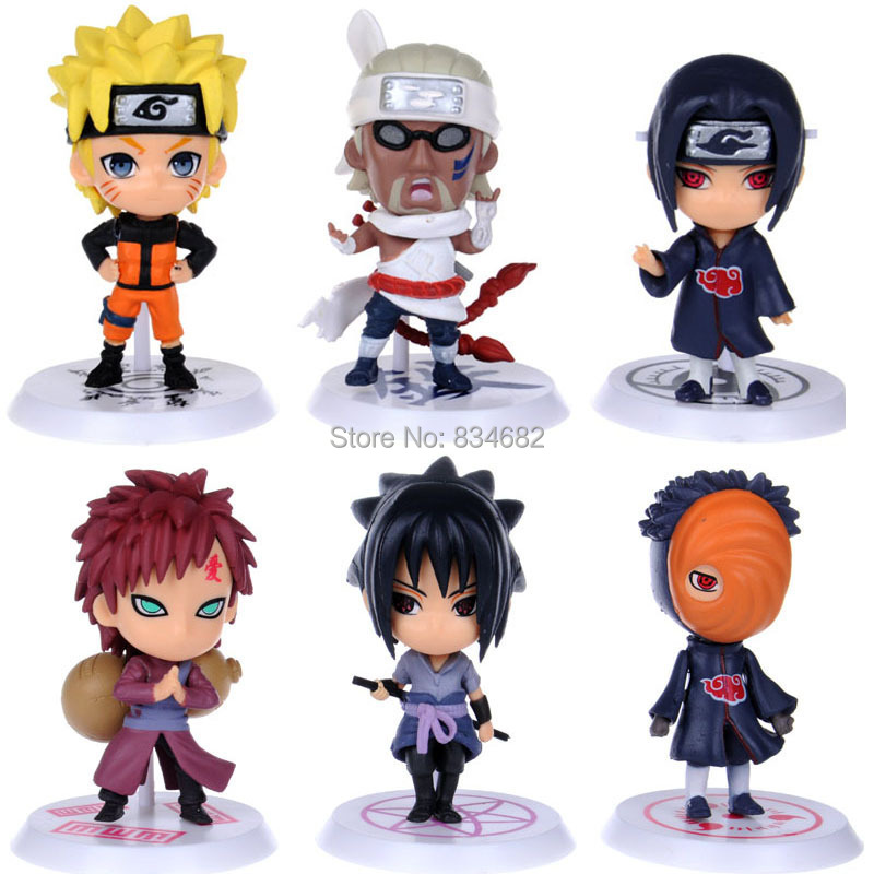 J G Chen 6pcs set New Arrival Anime Japanese Cartoon Naruto Cute Action Figure Toy Set
