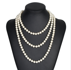 2018 Traditional 8mm Pearl Necklace With Knot long beaded necklace