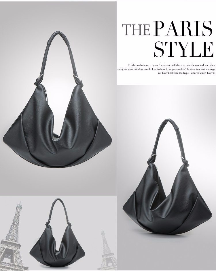 Soft PU Leather Fashion Hobo Bag Ladies Simple Pleated Black Bag ... 9edebf9eba456