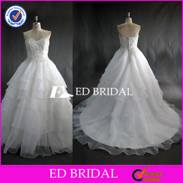 High Quality Beaded Sweetheart Bodice Ball Gown Organza Ivory Wedding Gown 2017