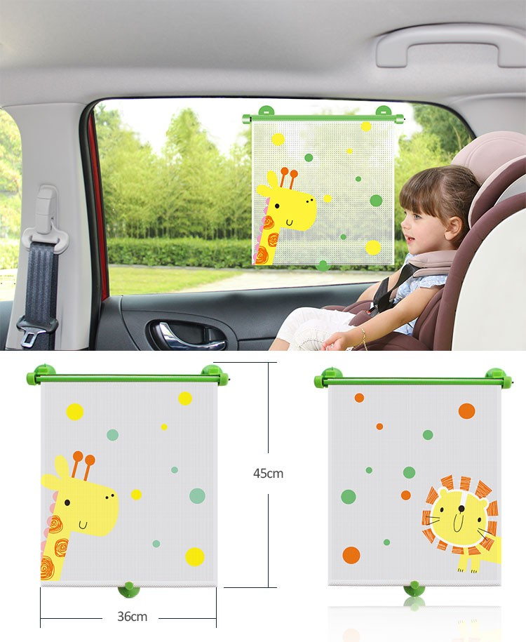 CARTOON Patroon Nylon Mesh Roller Auto Side Window Zonnescherm