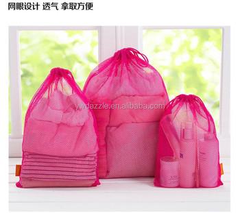 2017 Best Quality Fashion Design Drawstring Small Net Mesh Bags Whole