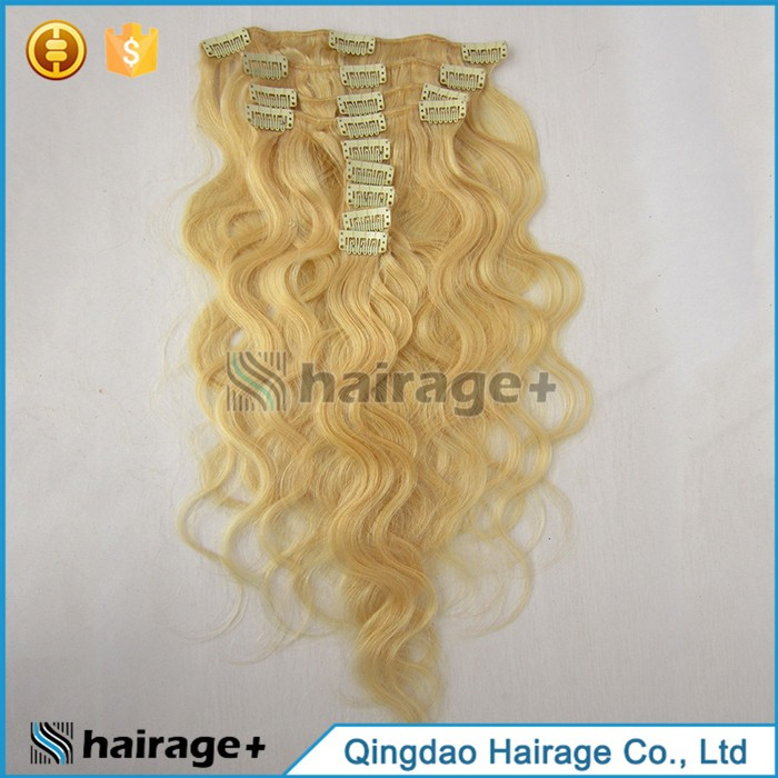 High Quality Raw Unprocessed Curly Blonde Clip In Hair Extensions