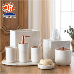 Bathroom Toiletry Set Toilet Brush Holder Marble Bath Accessories Set