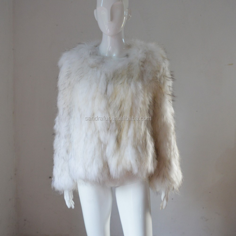 SJ017-01 Top Quality Off White Raccoon Jacket for Woman