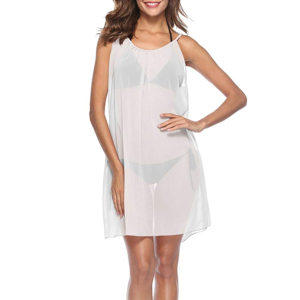 RNTop® Women Smock, Women Chiffon Bathing Sleeveless Smock Dress Solid Cover up Bikini Swimsuit Swimwear Smock Beach Cover up