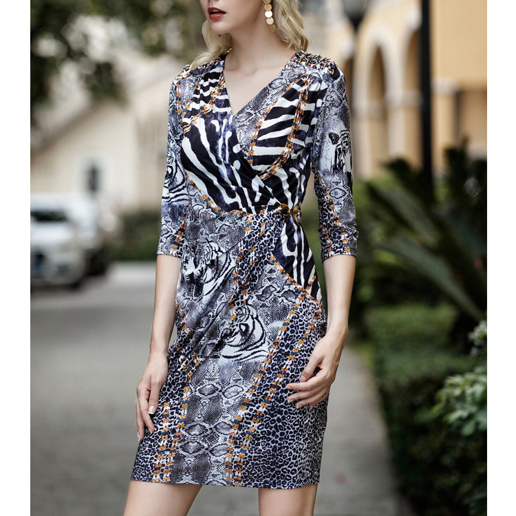 2018 Autumn  OEM Wholesale Customized Fashion Women Clothes Kint Cotton Printed Half Sleeve Ladies Slim Casual dress