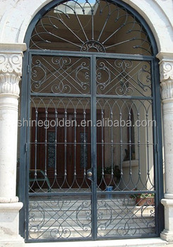 Wrought Iron Entry Front Door Custom Metal Exterior Forged Gate China Double Doors Steel Used