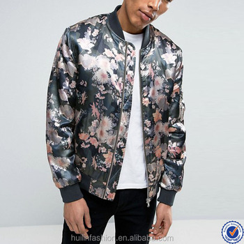 ee2ec5f06fc india wholesale clothing smooth woven fabric floral print mens satin bomber  jacket